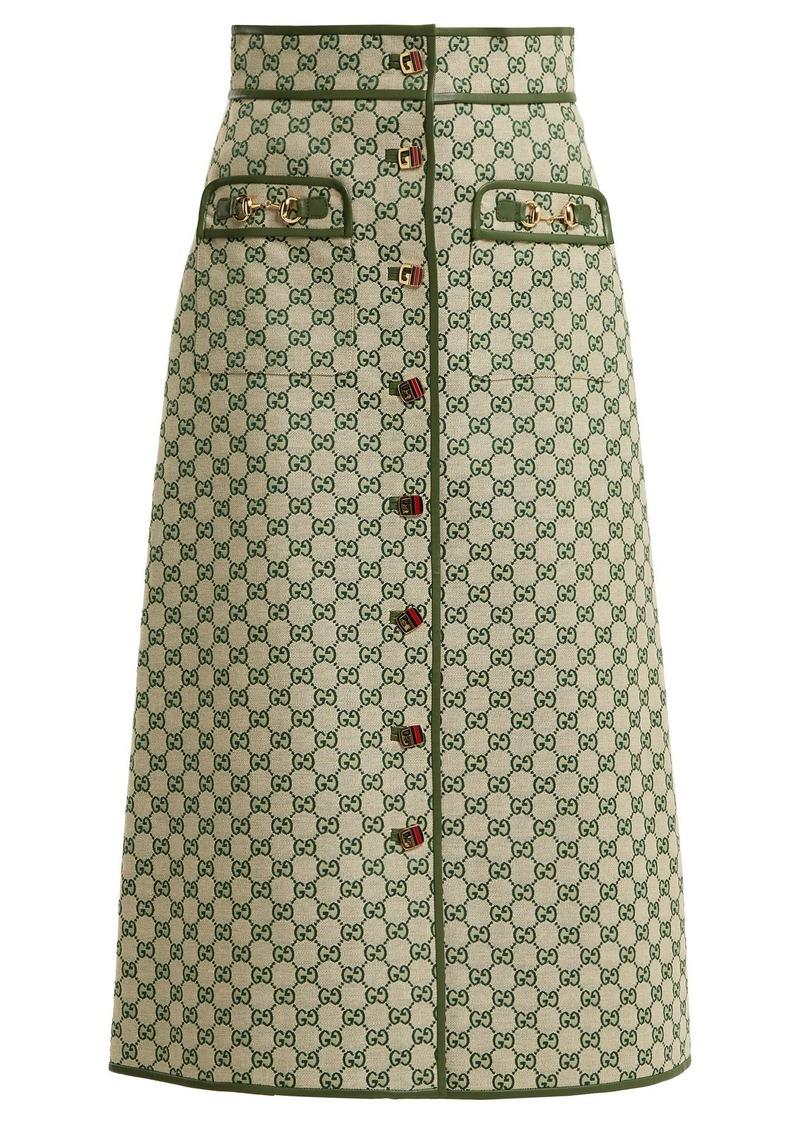 30d37bd81ed84 Gucci Gucci GG logo cotton-blend skirt