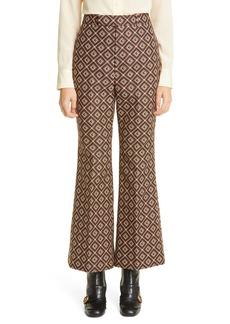 Gucci GG Logo Damier Jacquard Ankle Flare Pants