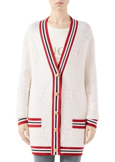 Gucci GG Logo Embossed Long Cardigan