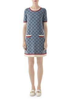 Gucci GG Logo Jacquard Shift Sweater Dress