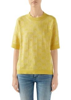 Gucci GG Logo Metallic Jacquard Wool Blend Sweater