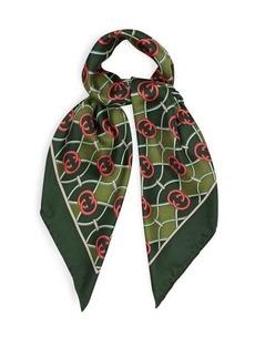 Gucci GG logo-print silk-faille scarf