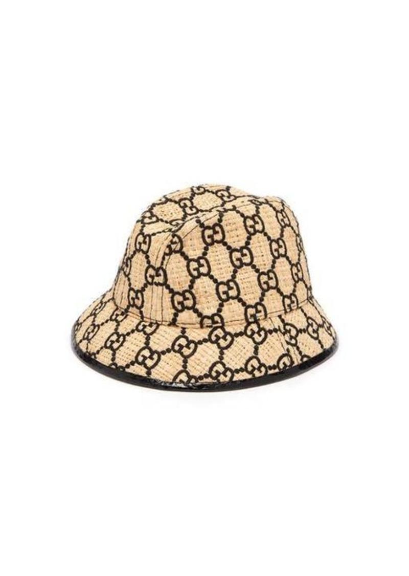 Gucci GG-logo snakeskin-trim raffia bucket hat