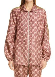 Gucci GG Logo Supreme Print Silk Track Jacket