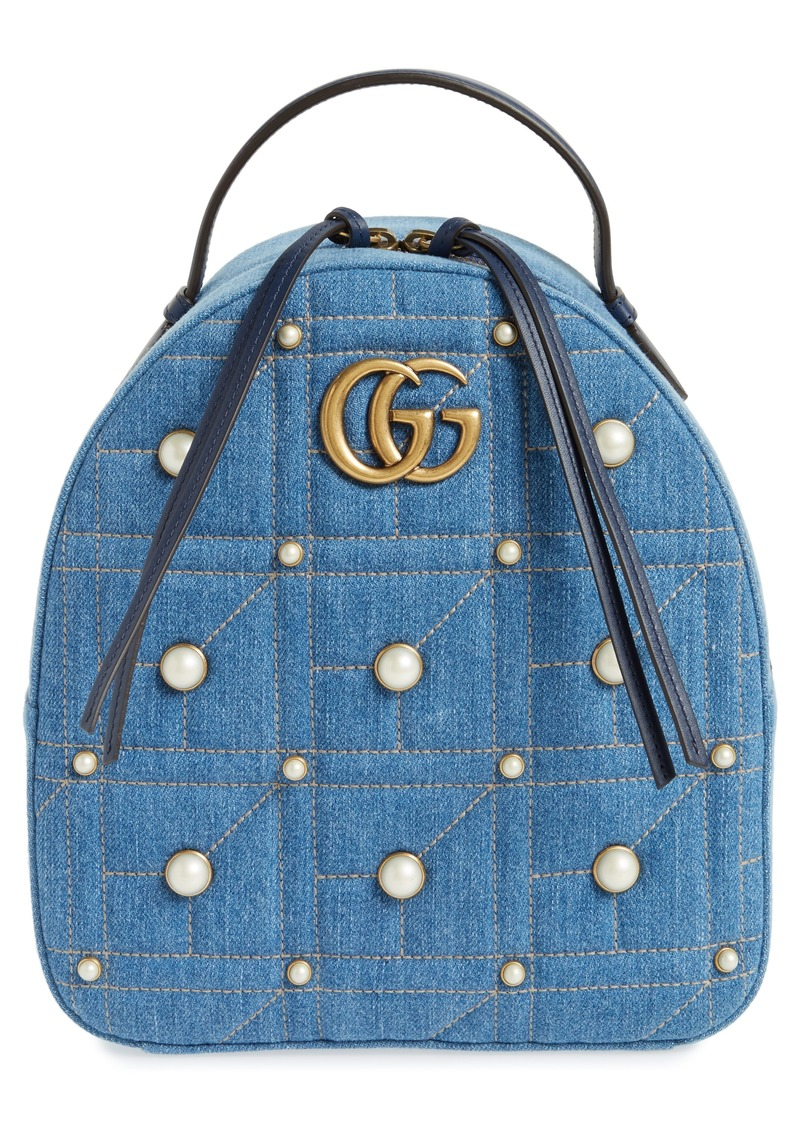 be329eb649a Gucci Gucci GG Marmont 2.0 Imitation Pearl Embellished Denim ...