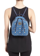 dcab5f789b63 ... Gucci GG Marmont 2.0 Imitation Pearl Embellished Denim Backpack