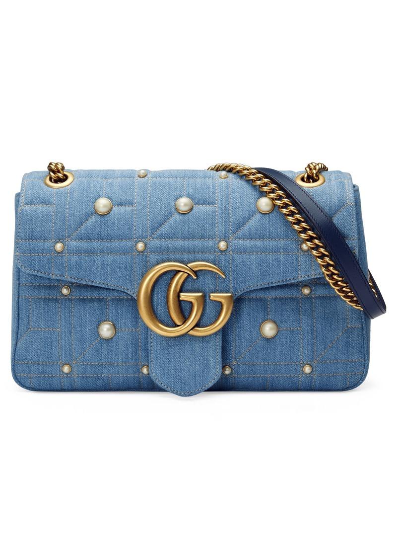 68ff4e5f35db Gucci GG Marmont 2.0 Imitation Pearl Embellished Denim Crossbody Bag