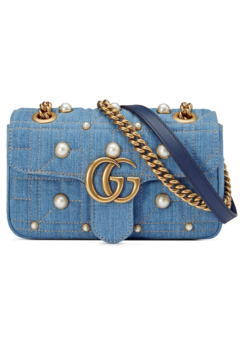 292bc795a Gucci GG Marmont 2.0 Imitation Pearl Embellished Denim Crossbody Bag