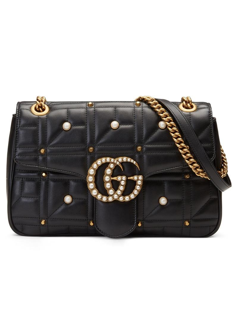 578baff117f Gucci GG Marmont 2.0 Imitation Pearl Logo Matelassé Leather Shoulder Bag