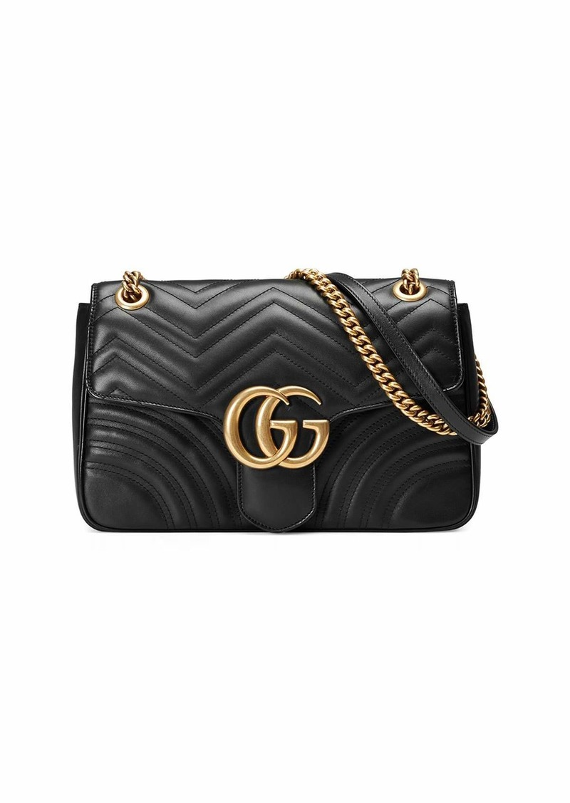 Gucci GG Marmont 2.0 Medium Quilted Shoulder Bag  Black