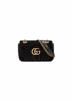Gucci GG Marmont 2.0 Mini Quilted Velvet Crossbody Bag  Black
