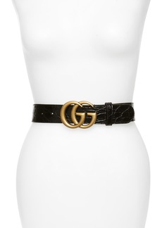 Gucci GG Marmont Caiman Genuine Crocodile Leather Belt
