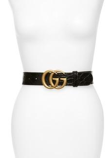 Gucci GG Marmont Caiman Genuine Crocodile Leather Belt