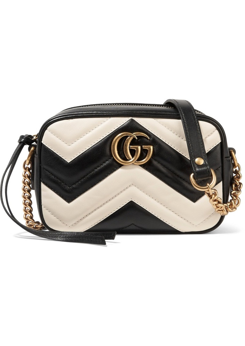 8090686a07d0 Gucci Gucci GG Marmont Camera mini two-tone quilted leather shoulder ...