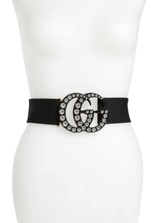 Gucci GG Marmont Crystal Buckle Stretch Belt