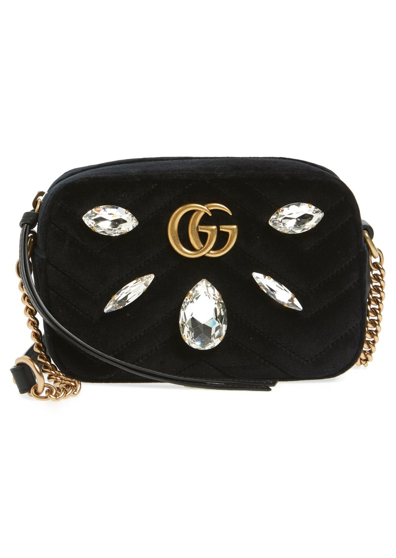 a94772fb8142 Gucci Gucci GG Marmont Crystal Matelassé Quilted Velvet Crossbody ...