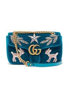 Gucci GG Marmont small embellished velvet cross-body bag