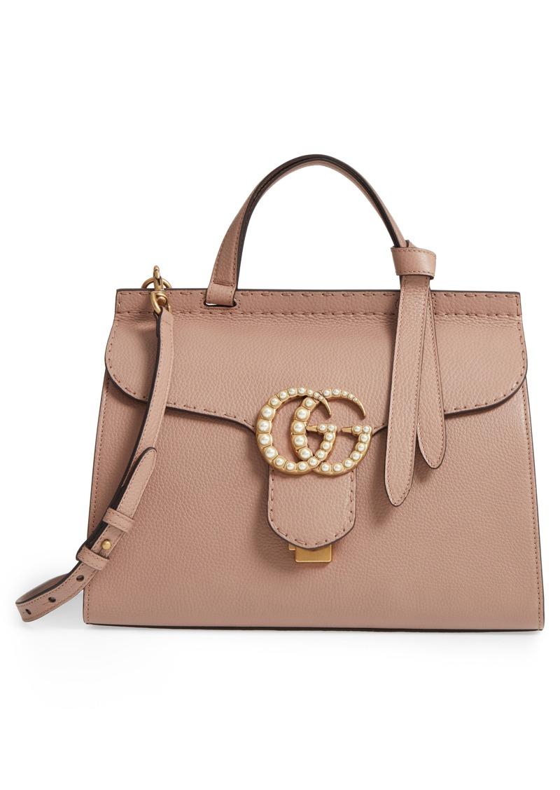 000eceecf Gucci Gucci GG Marmont Imitation Pearl Logo Top Handle Leather ...