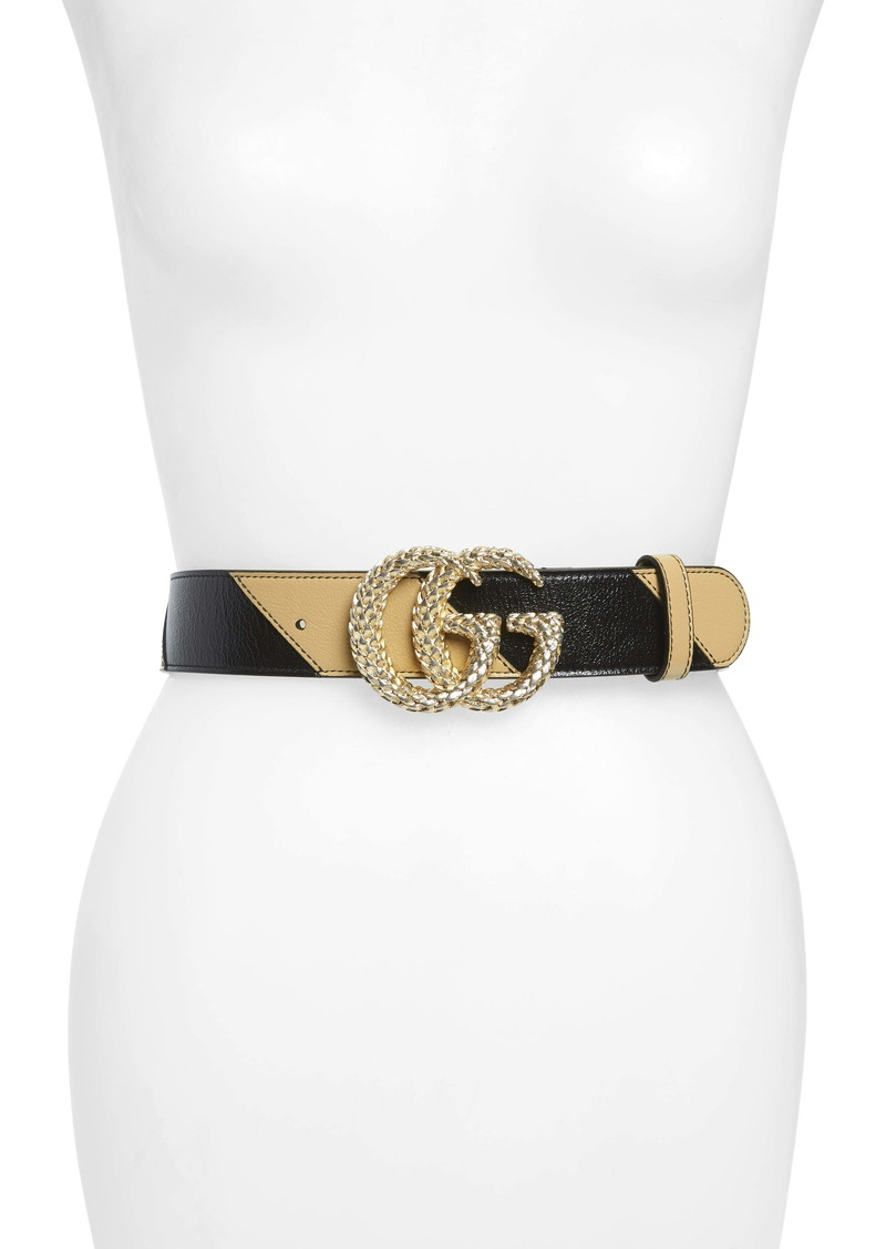 Gucci Logo Buckle Matelassé Leather Belt