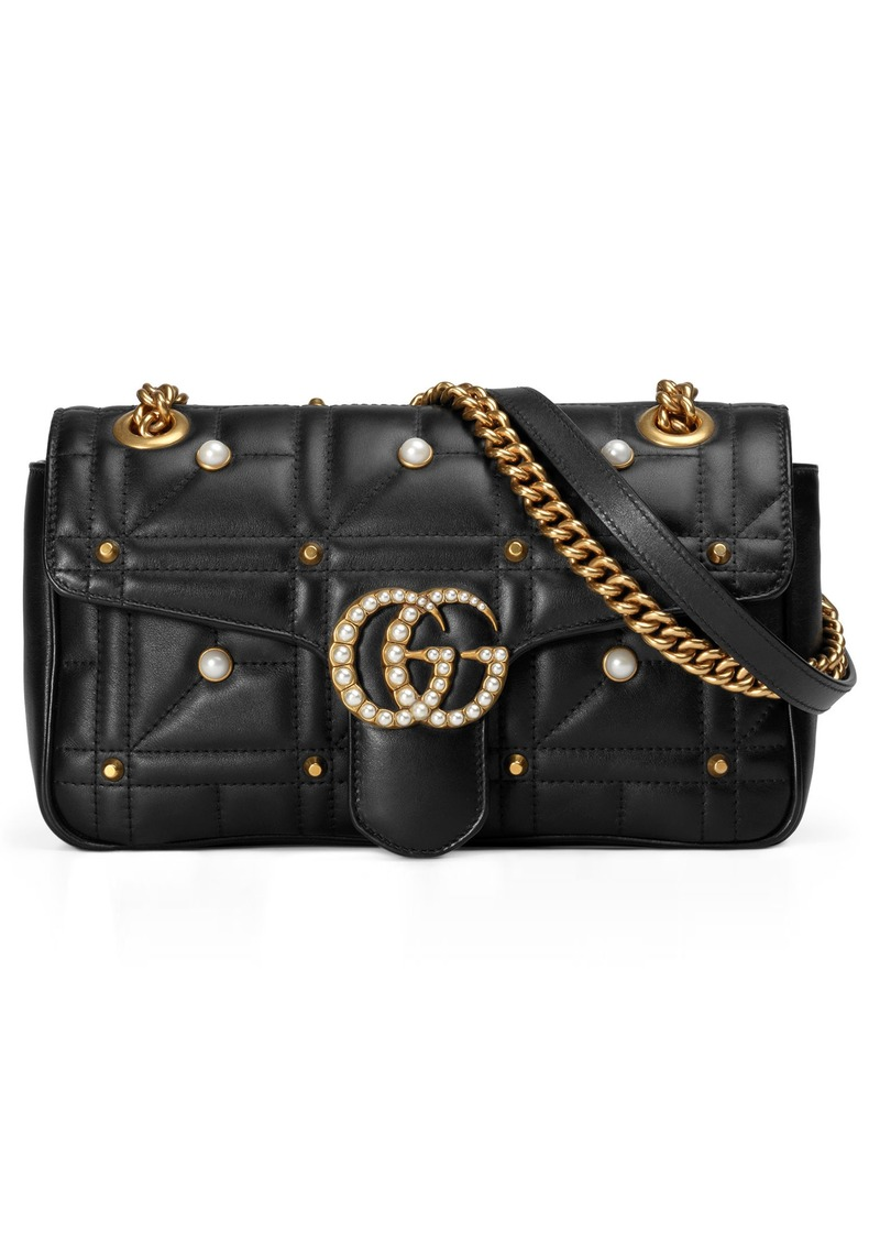 a9fcf2910e8 Gucci Gucci GG Marmont Matelassé Imitation Pearl Leather Shoulder ...