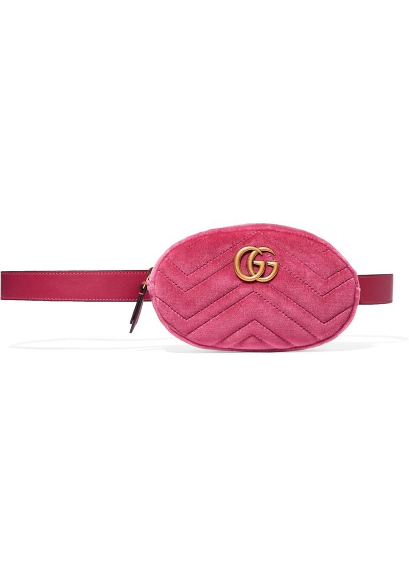 5a098b99773 Gucci Gg Marmont Matelé Velvet And Leather Belt Bag Handbags