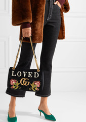 0f9306e5f50a ... Gucci GG Marmont medium embroidered matelassé velvet shoulder bag ...