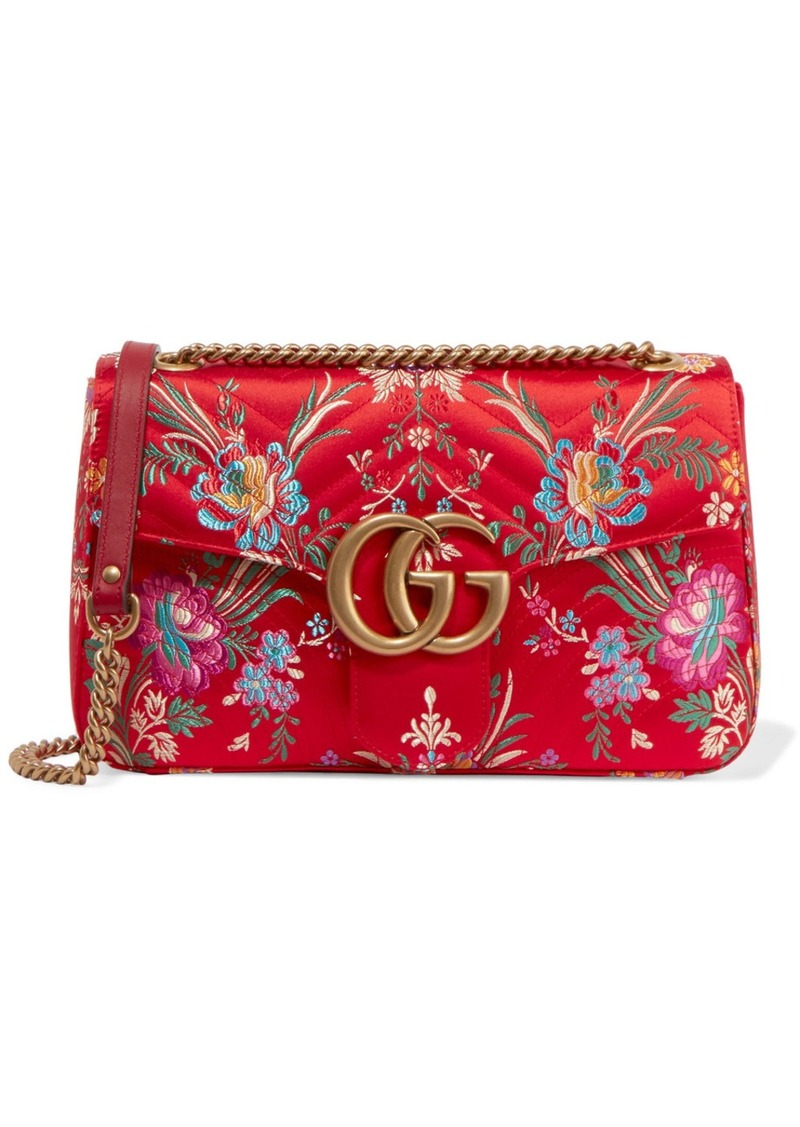 20298a20942f Gucci Gucci GG Marmont medium quilted floral-jacquard shoulder bag ...