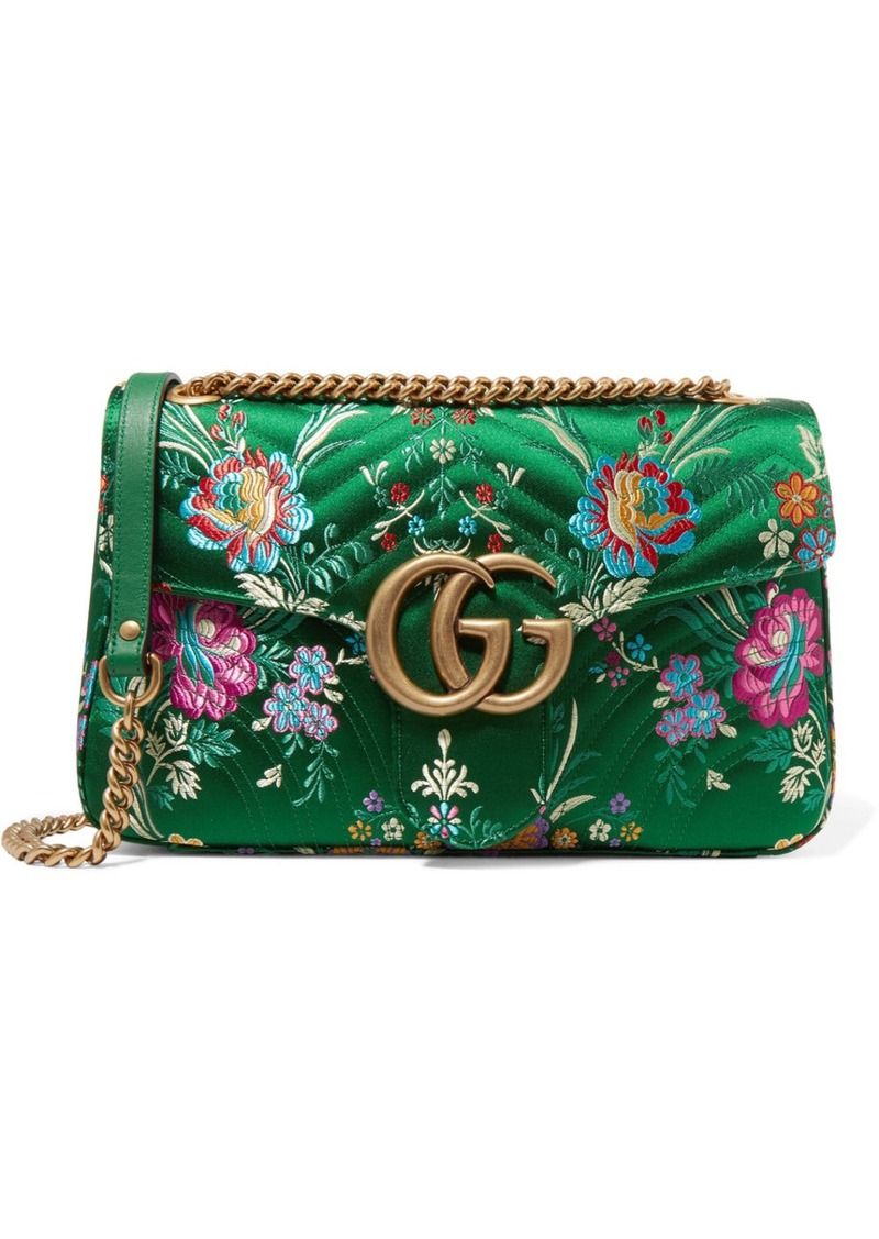 27f66ced9 Gucci Gucci GG Marmont medium quilted floral-jacquard shoulder bag ...