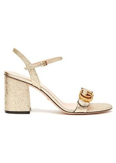 Gucci GG Marmont metallic-leather sandals