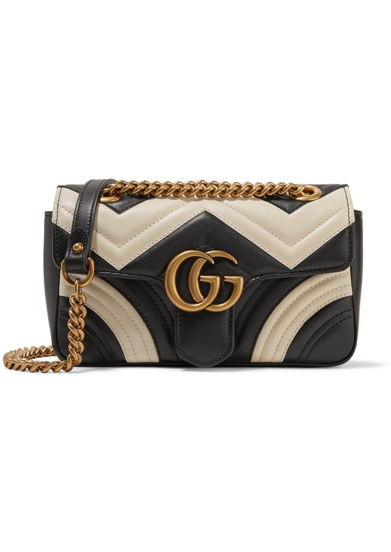 57ef26af67a8 Gucci Gucci GG Marmont mini two-tone quilted leather shoulder bag ...