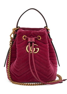 Gucci GG Marmont quilted-velvet drawstring bucket bag