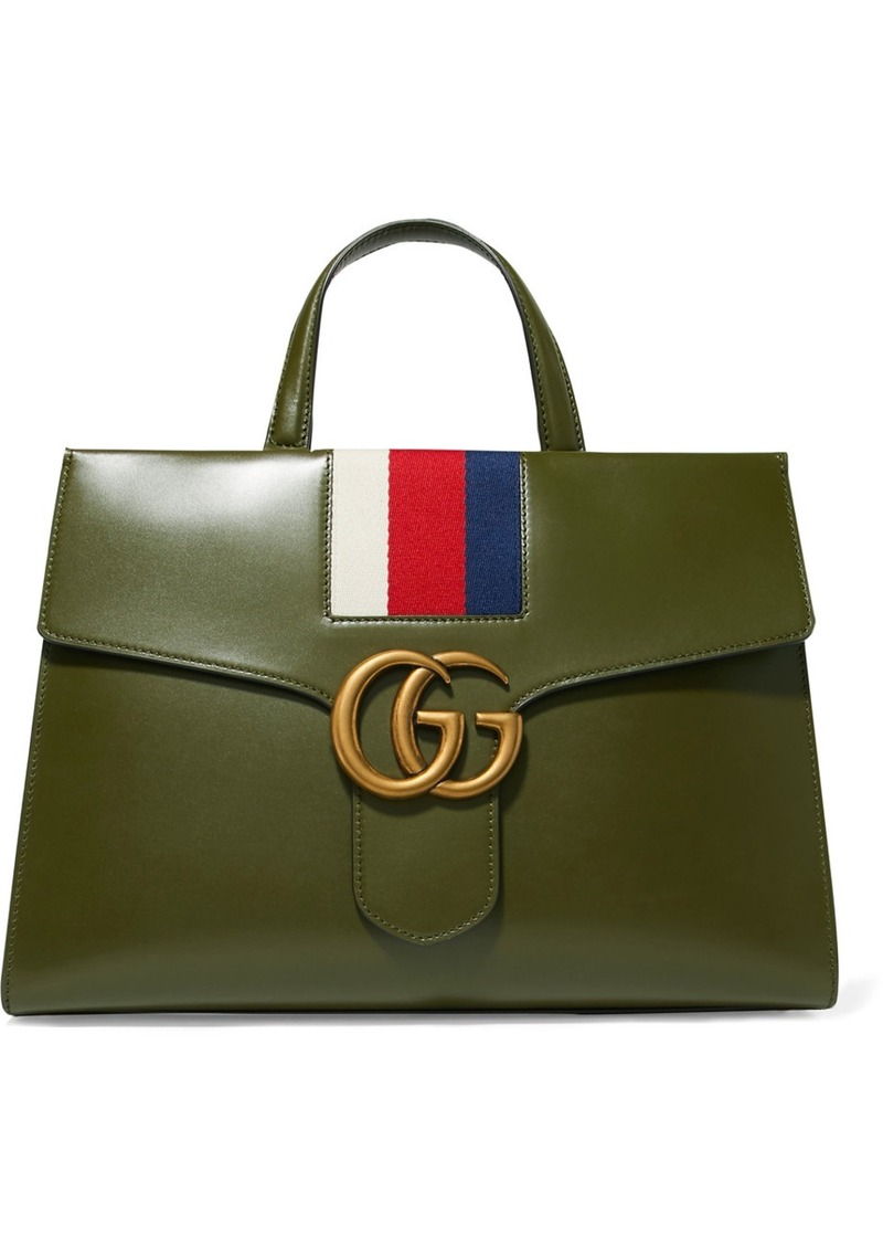 19ca2ee1cfc Gucci Gg Marmont Striped Canvas-trimmed Leather Tote