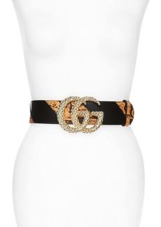 Gucci GG Marmont Textured Buckle Genuine Python & Leather Belt