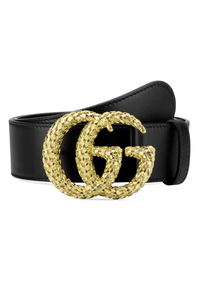 Gucci GG Marmont Textured Logo Buckle Leather Belt