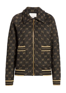 Gucci GG Metallic Jacquard Wool Blend Bomber Jacket