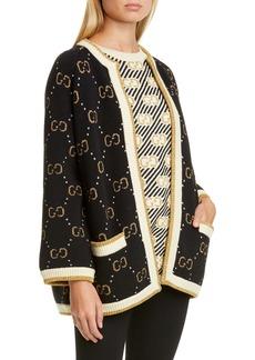 Gucci GG Metallic Jacquard Wool Blend Cardigan