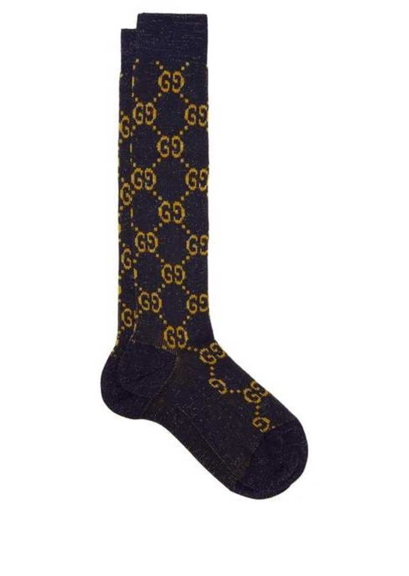 Gucci GG metallic knee-high cotton-blend socks