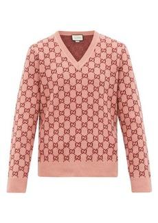 Gucci GG monogram felted-wool blend V-neck sweater