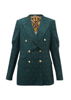 Gucci GG-pinstripe double-breasted wool-twill blazer