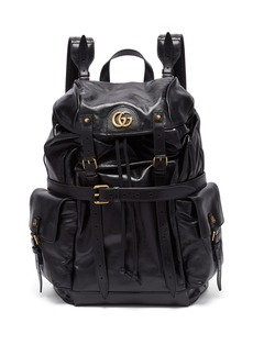 Gucci GG-plaque crinkled-leather backpack
