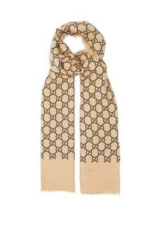 Gucci GG-print linen-blend scarf