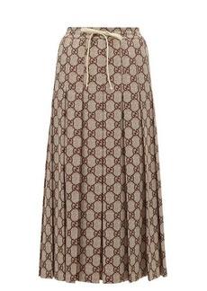 Gucci GG-print pleated midi skirt