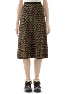 Gucci GG Rhombus Jacquard Wool Sweater Skirt