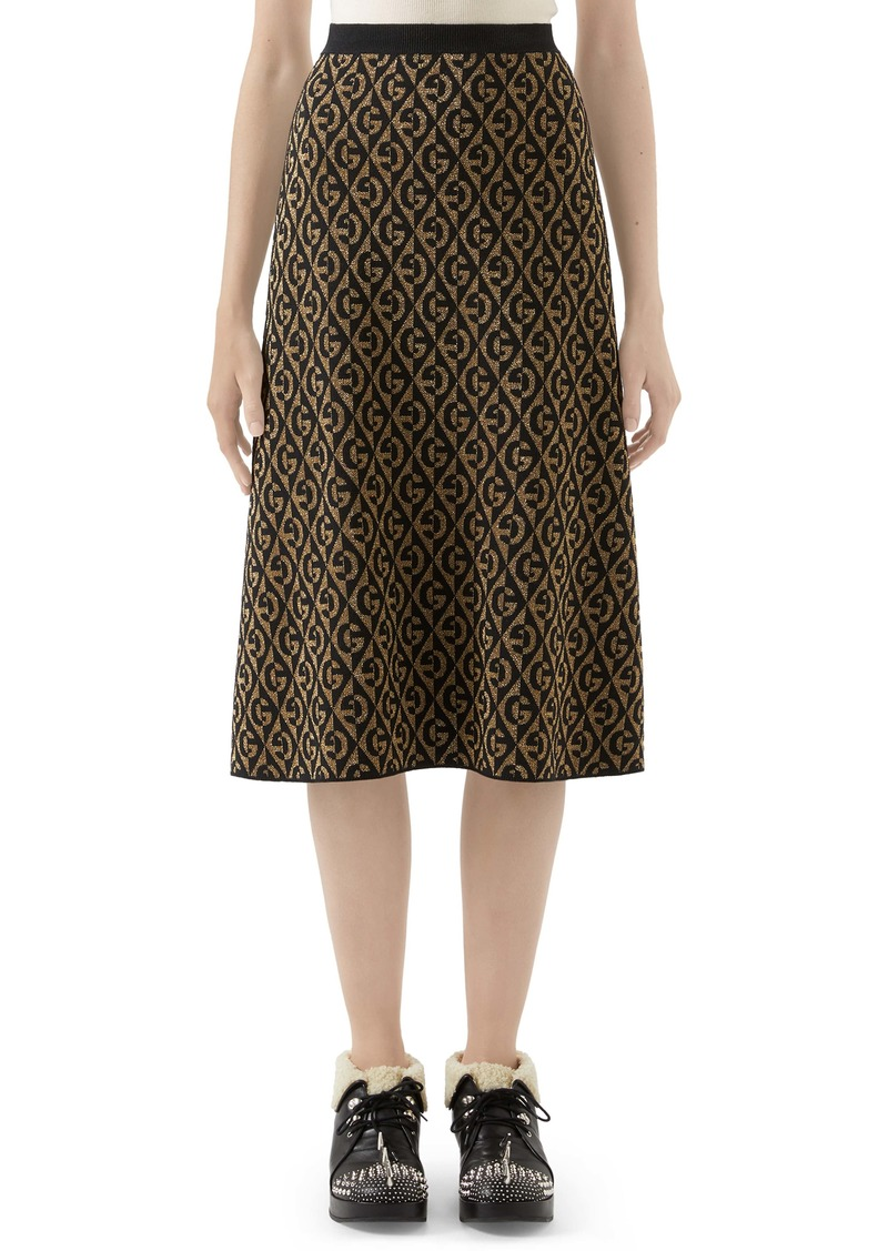 Gucci GG Rhombus Jacquard Wool Sweater Skirt