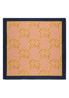 Gucci GG Rhombus Leaves Print Silk Scarf