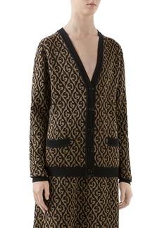 Gucci GG Rhombus Metallic Jacquard Wool Cardigan