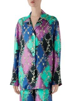 Gucci GG Rhombus Ramage Print Silk Twill Shirt