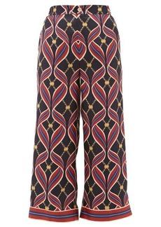 Gucci GG ribbon-print silk wide-leg trousers