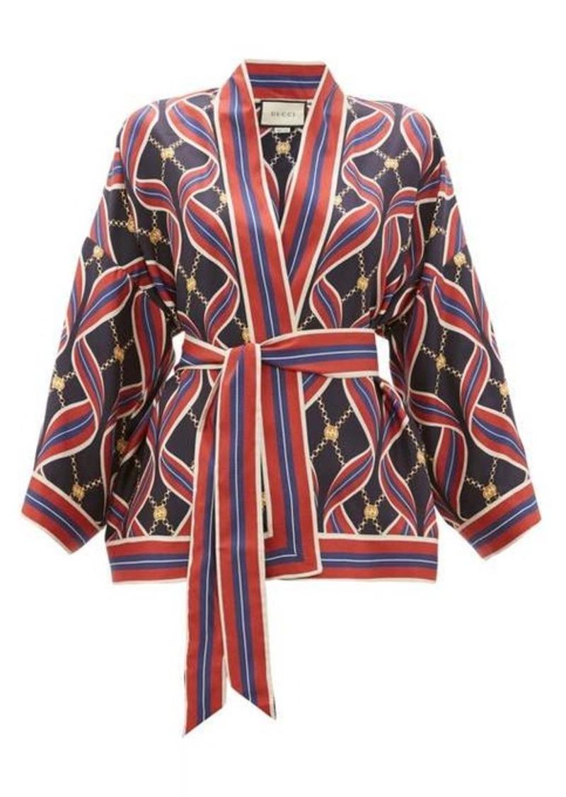 Gucci GG ribbon-print silk wrap top