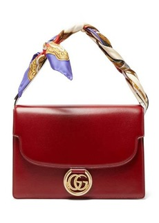Gucci GG Ring silk scarf-handle leather bag
